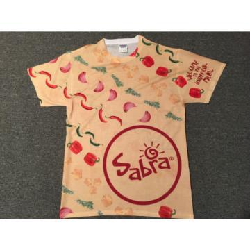 Sabra Hummus Rare Promo T-Shirt Sz M All-Over Print Red Green Pepper Garlic