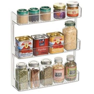 MDesign Wall Mount Kitchen Spice Organizer Rack For Herbs, Salt, Pepper, Garlic