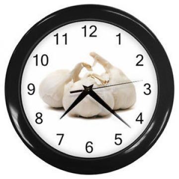 Garlic Trio Plastic Black Frame Battery Novelty Kitchen Wall Clock