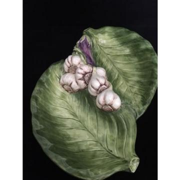 VIETRI Made in ITALY Cerramic Painted Leaf Garlic Double Serving Platter Large