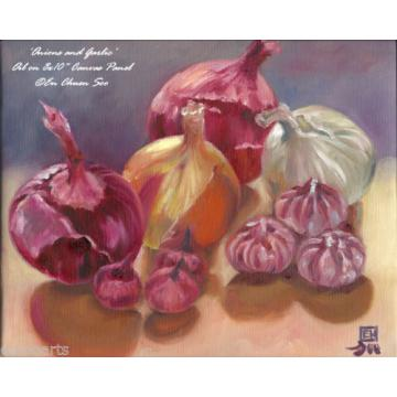 Onions & Garlic, Original Still-life Oil Painting, Artist Signed, 2000-Now