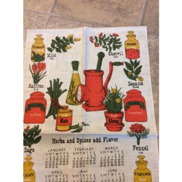Vintage Calendar Tea Kitchen Towel Spices Oil Garlic Herbs Estate Sale 1973