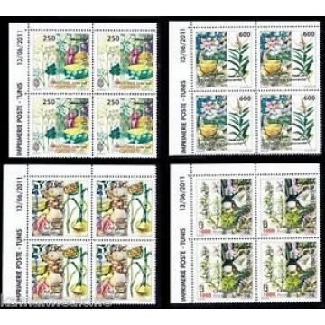 Tunisia MNH 4v Blk 4, Medicine Plants, Rosemary, Lemon, Green Anise, Garlic- M37