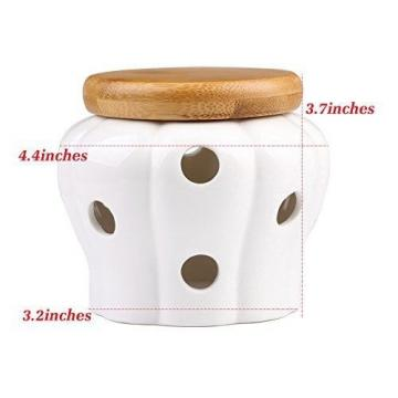 JD.Gems White Stoneware Garlic Keeper with Bamboo Lid and 12 Air Vent