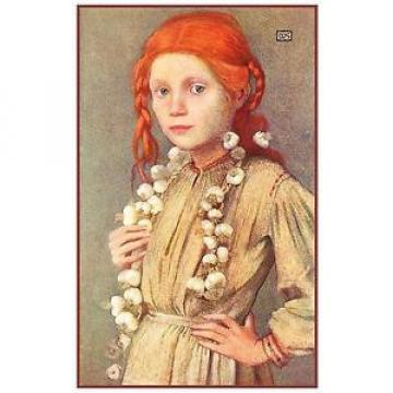 A Romanian Girl Selling Garlic by Marianne Stokes Counted Cross Stitch Pattern