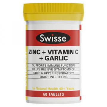 SWISSE ULTIBOOST ZINC + VITAMIN C + GARLIC 60 TABLETS