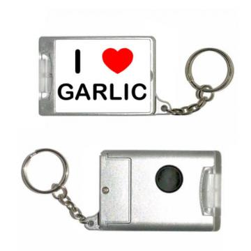 I Love Heart Garlic - Silver Rectangle Plastic Torch Key Ring New