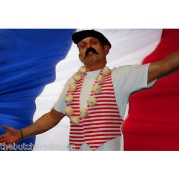 French France Tash Beret Waistcoat & Garlic Fancy Dress Disguise Mustache
