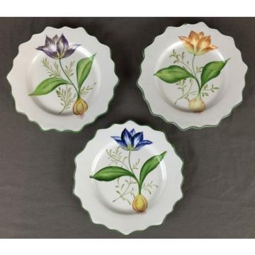 3 San Marco Scalloped Plates Garlic Onion Tulip Flower Made in Italy Crown
