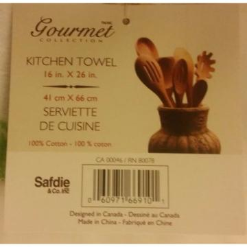 "2 SAME RARE PRINTED KITCHEN TOWELS, 16"" x 26"" , TOMATOES & GARLIC"