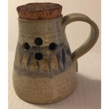 Garlic Jar Pottery Handmade One Handle Cork Stopper Side Holes