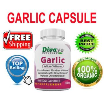 Top Selling Divayo Garlic 500 mg Healthy Heart 60 Veggie Capsules