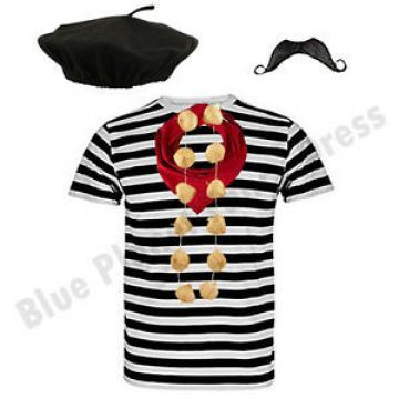 DELUXE MENS COMPLETE FRENCH MAN STAG NIGHT WAITER FANCY DRESS COSTUME OUTFIT