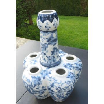 BLUE WHITE ORIENTAL / CHINESE  STYLE TULIP VASE GARLIC SHAPED NECK FLORA & BIRDS