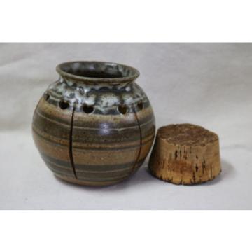 Decorative Pottery Stoneware Garlic Storage Jar W/ Cork Topper Potpourri Holes