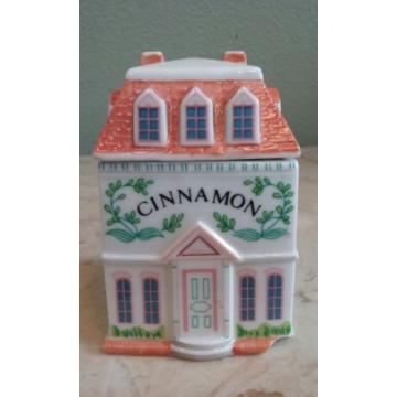 1989 Lenox Spice Village 4 Victorian House Jar Garlic Parsley  Basil & Cinnamon