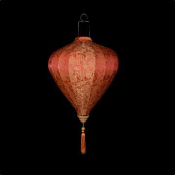 """16"""" Red / Orange Vietnamese Silk Lantern, Garlic Umbrella"""