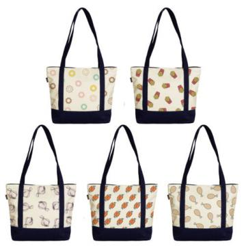 Women's Food Abstracts Printed Canvas Tote Bag Shoulder Bag WAS_09