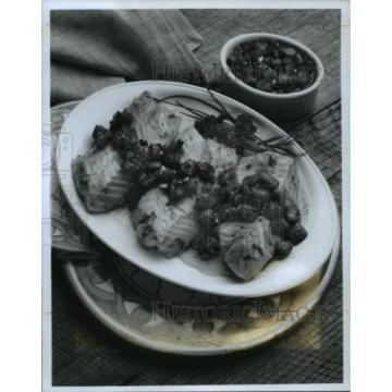 1990 Press Photo Broiled Cod with Herbed Tomato, Garlic and Lemon Sauce