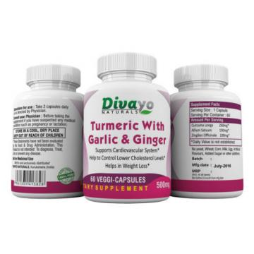 Best Quality Turmeric with Garlic & Ginger 500 mg Capsule Free Shipping