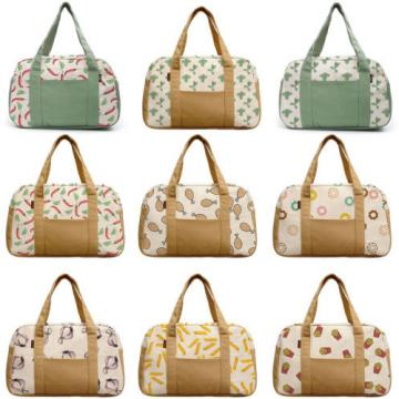 Women's Watercolor Food Patterns Printed Canvas Duffel Travel Bags WAS_19