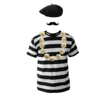 Men's French Man Fancy Dress Costume Beret T-Shirt Moustache & Garlic Necklace