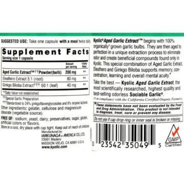 Kyolic Aged Garlic Extract Ginkgo Biloba Plus Memory - 200 mg - 90 Capsules