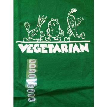NEW Retro VEGETARIAN Green Large T-shirt | Cute Vegetables Garlic Potato Carrot