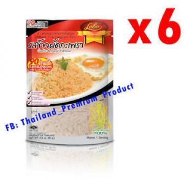 x6 Thai Food LOBO Ready Instant Thai Fragrant Rice Garlic & Basil Flavour 80 g.