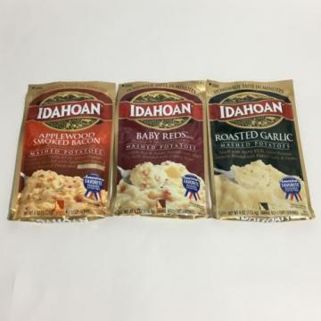 Idahoan Mashed Potatoes Variety Pack Bacon, Garlic, Baby Reds