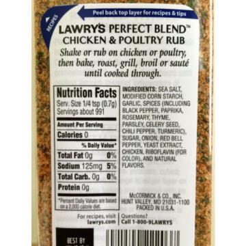 New ! 2 X 24.5 oz Lawry's Perfect Blend Chicken & Poultry Rub Seasoning