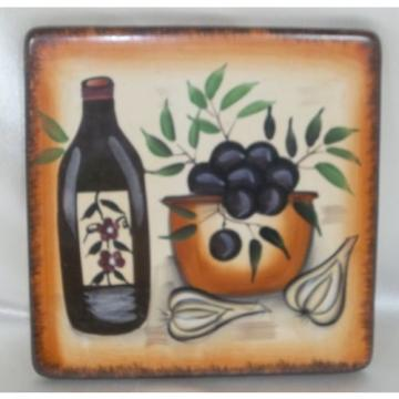 Tuscan Style Square Trivet - Hand Painted with Jar, Olives & Garlic - Casino