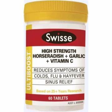 SWISSE ULTIBOOST HIGH STRENGTH HORSERADISH + GARLIC + VITAMIN C 60 TABLETS