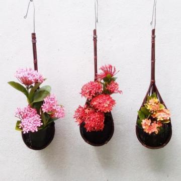 3 HANGING BAMBOO BASKETS POT PLANT ORCHIDS BALCONY PATIO  KITCHEN GARLIC HOLDER