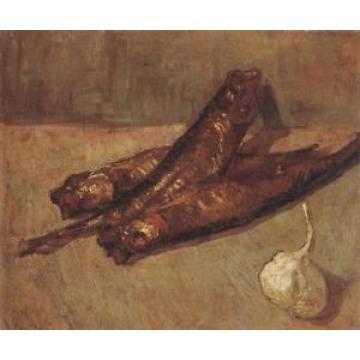Still Life Kippered Herring & Garlic Van Gogh VG321 Art Print A4 A3 A2 A1