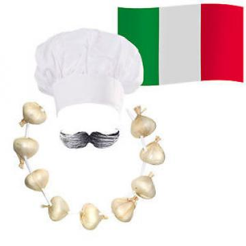 Italian Chef / Cook Fancy Dress: Hat + Moustache + Garlic Onion Garland + Flag