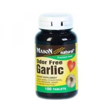 Mason Natural Odor Free Garlic Tabs, 100 ea (Pack of 2)