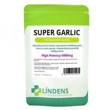 "GARLIC 6000mg ODOURLESS 120 CAPSULES (""Super Garlic"") LINDENS"