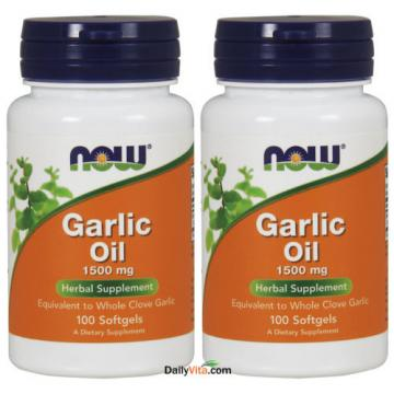 2 x NOW FOODS Garlic Oil Triple 3 x Strength 1500 mg 100 SGels FRESH MADE IN USA