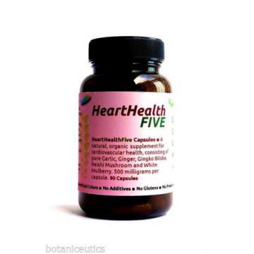 90 Heart Health Capsules - Garlic, Ginger, Gingko Biloba, Reishi, White Mulberry