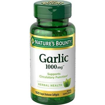 Nature's Bounty Garlic 1000 mg, 100 Odorless Softgels (Pack of 2)