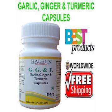 Veggie Capsules Garlic,Ginger & Turmeric 500 mg Herbal Capsules HALEYS