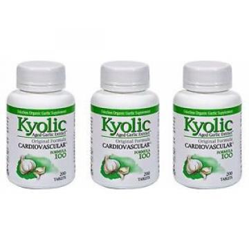 3X (200 + 200+200 caps) Kyolic Aged Garlic Cardiovascular Original Formula #100