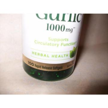 Natures Bounty Garlic 1000 mg Herbal Health 200 Total Softgels expires 3/19