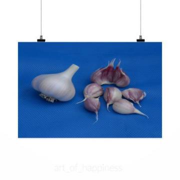 Stunning Poster Wall Art Decor Garlic Bulb Clove White Purple 36x24 Inches