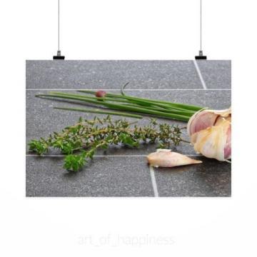 Stunning Poster Wall Art Decor Herbs Rosemary Leek Chives Garlic 36x24 Inches
