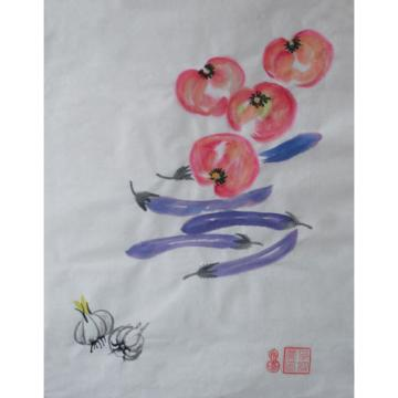 Hand Paint Chinese ink watercolor painting tomato aubergine&garlic signed