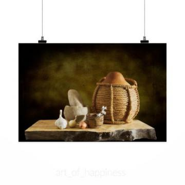 Stunning Poster Wall Art Decor Gourd Basket Mortar Pestle Garlic 36x24 Inches