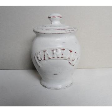 Garlic Pot Jar Terracotta Hand Painted Distressed Chalk Paint Rustic Kitchen