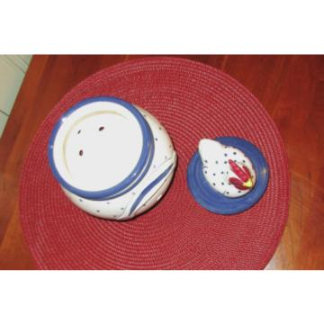 Patriotic Red White & Blue Knoblauch (Garlic) Ceramic Jar with Rooster Lid